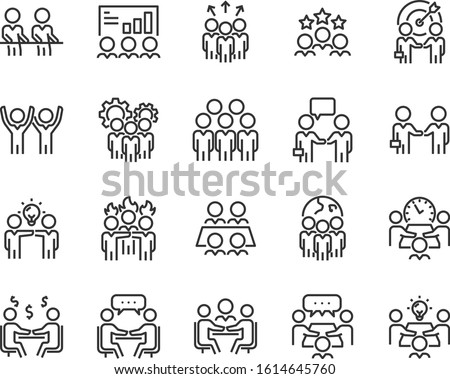 set of teamwork icons, meeting, group, working, training