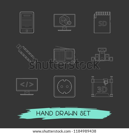Set of tech icons line style symbols with computer widget, flash drive, sound system and other icons for your web mobile app logo design.
