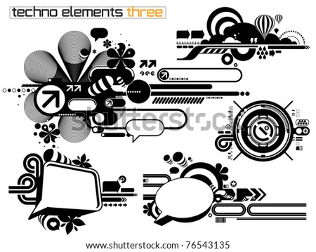 Set of techno compositions for print multimedia and web