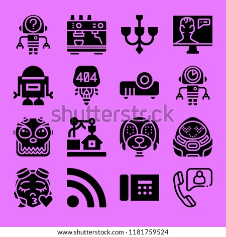 Set of 16 technology filled icons such as call, telephone, chandelier, rss, 3d, projector, espresso, robot
