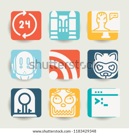 Set of 9 technology filled icons such as jet pack, 24 hours, rss, incubator, artificial intelligence, robot