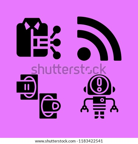 Set of 4 technology filled icons such as smart clothing, rss, teleportation