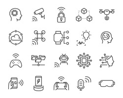 set of technology icon set, such as robot, digital, vr, ai, cyber