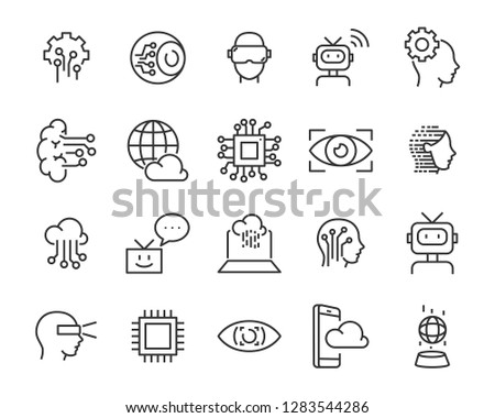 set of technology icon set