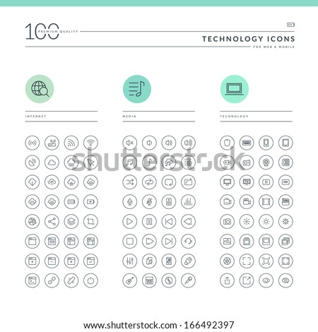 Set of technology icons for web and mobile. Icons for internet, media and technology.