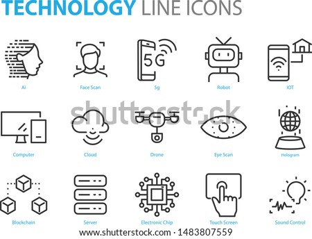 set of technology icons, 5g, ai, gesture, robot, iot