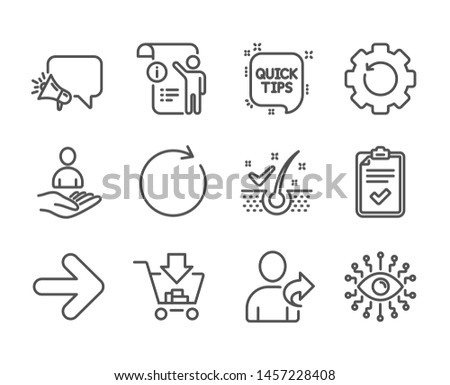 Set of Technology icons, such as Artificial intelligence, Checklist, Quick tips, Megaphone, Refer friend, Next, Recovery gear, Shopping, Synchronize, Manual doc, Recruitment line icons. Vector