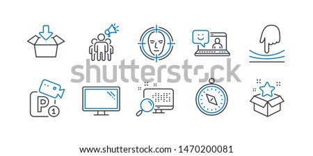 Set of Technology icons, such as Elastic, Travel compass, Monitor, Search, Brand ambassador, Smile, Get box, Face detect, Parking security, Loyalty program line icons. Line elastic icon. Vector