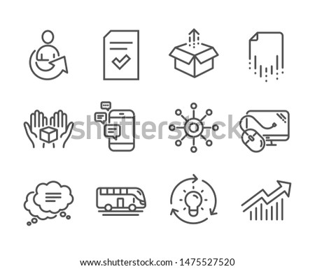 Set of Technology icons, such as Hold box, Idea, Computer mouse, Send box, Recovery file, Communication, Demand curve, Checked file, Text message, Multichannel, Bus tour, Share line icons. Vector