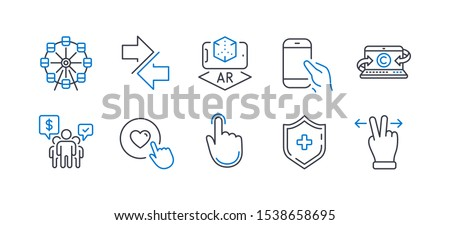 Set of Technology icons, such as Hold smartphone, Ferris wheel, Hand click, Teamwork, Copywriting notebook, Synchronize, Like button, Augmented reality, Medical shield, Touchscreen gesture. Vector