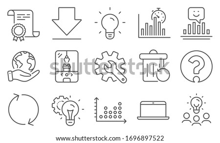 Set of Technology icons, such as Idea gear, Customisation. Diploma, ideas, save planet. Report timer, Dot plot, Downloading. Refresh, Smile, Recovery trash. Light bulb, Laptop, Question mark. Vector Foto d'archivio ©