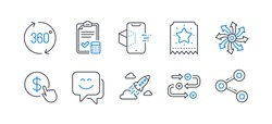 Set of Technology icons, such as Loyalty ticket, Versatile, Buy currency, Startup rocket, 360 degrees, Augmented reality, Survey progress, Smile face, Accounting checklist, Share. Vector