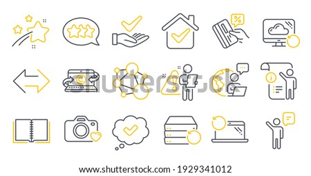 Set of Technology icons, such as Manual doc, Agent, Stars symbols. Approved, Recovery laptop, Credit card signs. Sync, Photo camera, Integrity. Recovery cloud, Dermatologically tested. Vector Foto stock ©