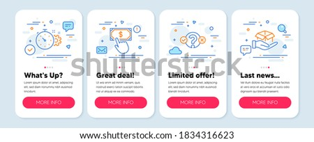 Set of Technology icons, such as Quiz test, Cogwheel timer, Payment click symbols. Mobile screen mockup banners. Hold box line icons. Select answer, Engineering tool, Financial transfer. Vector