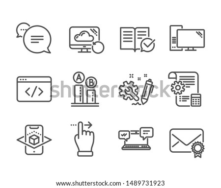 Set of Technology icons, such as Verified mail, Text message, Engineering, Settings blueprint, Augmented reality, Ab testing, Recovery cloud, Seo script, Approved documentation, Computer. Vector