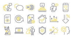 Set of Technology icons, such as View document, World globe, Romantic talk symbols. Survey results, Smile, Customer survey signs. Low percent, Report, Love chat. Microscope, 24h service. Vector