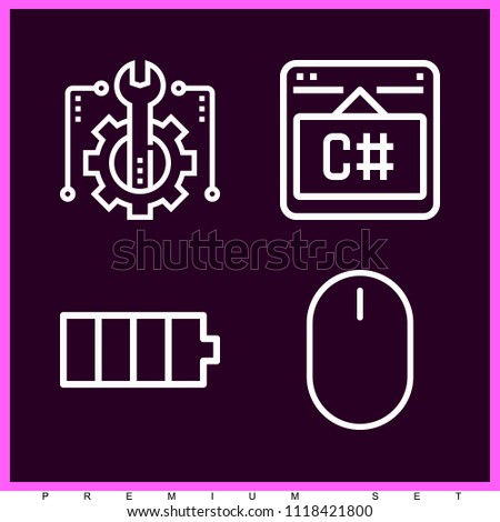 Set of 4 technology outline icons such as battery, mouse, conveyor