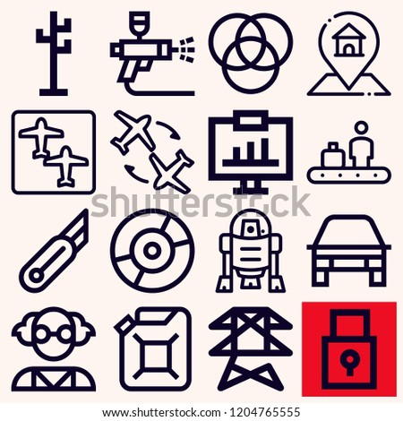Set of 16 technology outline icons such as gps, power line, car painting, car oil, flight, r d, conveyor, rgb, cutter, mad scientist, car, analytics, rack, padlock Stock fotó ©