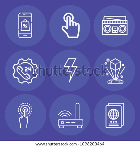 Set of 9 technology outline icons such as hologram, bolt, passport, modem, support, smartphone, interactive, radio
