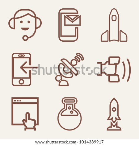 set of 9 technology outline