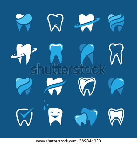 set of teeth  tooth icons on