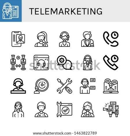 Set of telemarketing icons such as Receptionist, Online support, Assistant, Support, Technical Support, services, Operator, Customer service, Service, Customer service agent , telemarketing