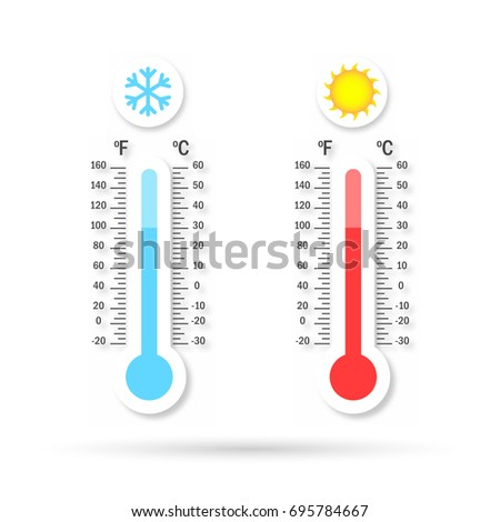 Set of Temperature logo with shadow. Warm and cold temperature
