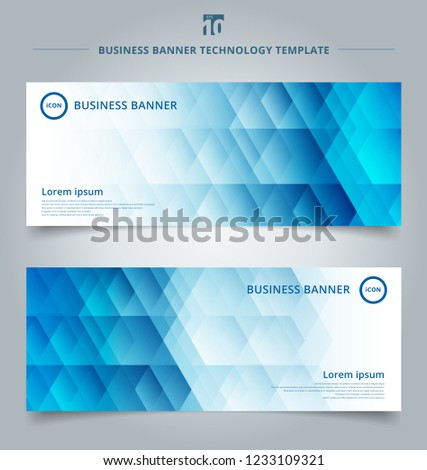 Set of template banner web geometric hexagon pattern blue background technology concept. Vector corporate design #1233109321