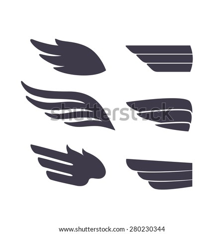 Set of Template Birds Arms. Vector Sign for Tattoos, Logos, Labels and Icons. Decorative Isolated Wings.