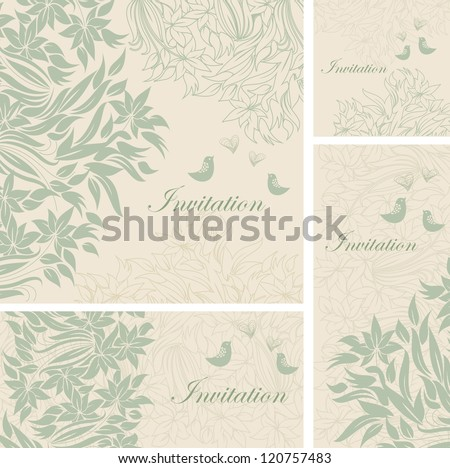 set of template frame design for greeting card with tender flowers