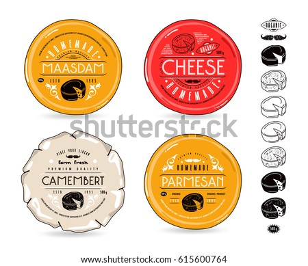Set of template labels for cheese and icons. Labels for camembert, maasdam and parmesan cheeses with transparent background