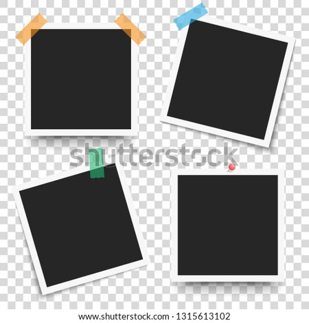Set of template retro frame photo on transparent background. Vector illustration for your photos or text. Scrapbook design.