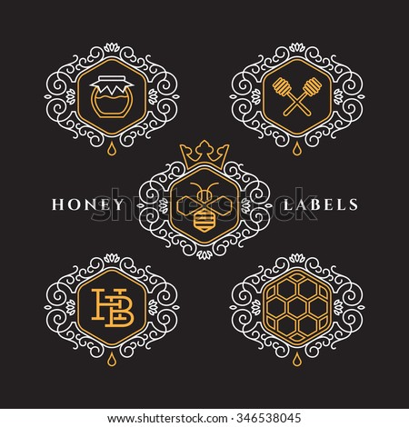 Set of templates design for honey bee labels with frame in outline style. Vector illustration.