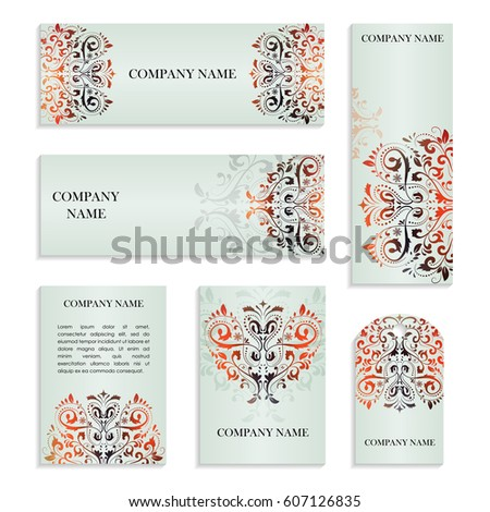 Set of templates for business cards.Colored vector illustration for corporate identity, individual cards, form style. Leaflets for advertising or company descriptions. Front page with colored pattern.