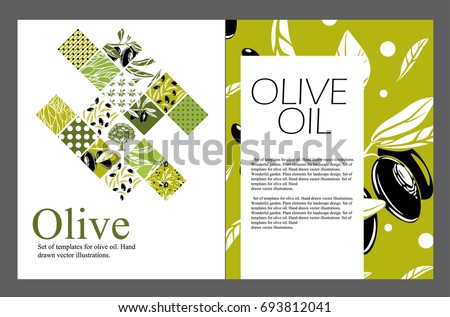 set of templates for olive oil. ...