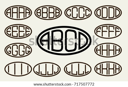 Set 1 Of Templates From Of Four Capital Letters Inscribed In A Oval. From  Wide