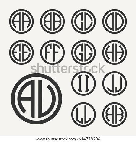 Set 1 of templates from two capital letters inscribed in a circle. From wide lines of the same thickness. To create logos, emblems, monograms. Lineart style.