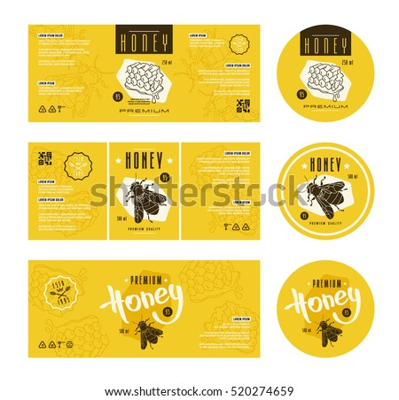 Set of templates label for honey. With hand-drawn graphic
