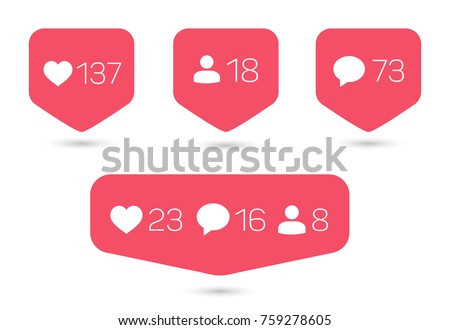 Set of templates of counter with info for social networking isolated on white background