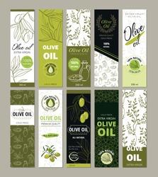 Set of templates packaging for olive oil bottles.  Vector illustration