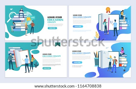 Set of templates web page design. Education, online education, e-learning modern flat design concept. Web page design for website and mobile website. Vector illustration. - Shutterstock ID 1164708838