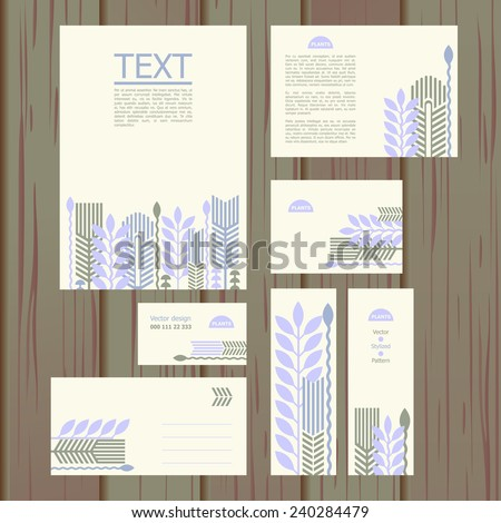 fedex brochure template - set of templates with floral pattern a4 a5 a6 envelope