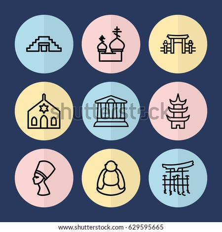 set of 9 temple outline icons