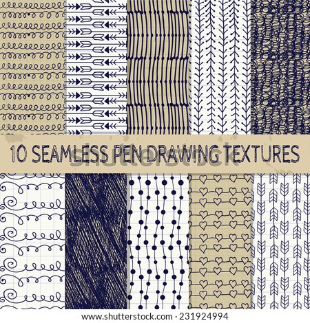 stock-vector-set-of-ten-abstract-pen-drawing-seamless-textures-with-transparent-background-paper-into-cell
