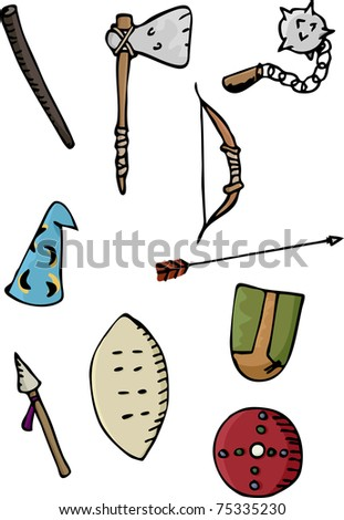 Set of ten ancient European and African weapons