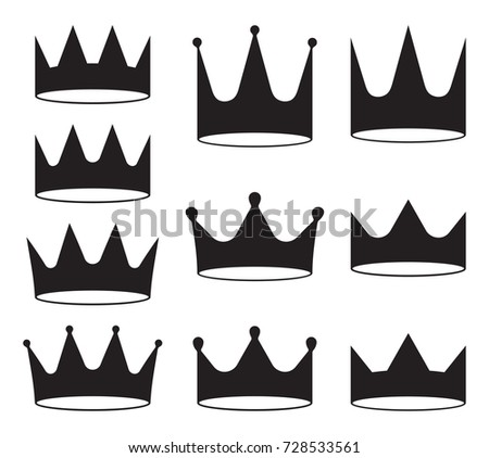 Set of ten black crowns for heraldry design on white background.