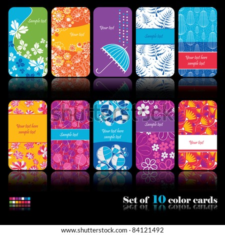 Set of ten colorful cards
