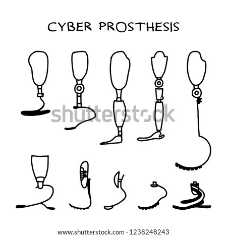 Set of ten hand drawn prosthesis on a white background. Prosthesis for leg.  Modern Exoskeleton Prosthetic mechanism. Cyber prosthesis. Vector illustration.
