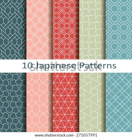 set of ten japanese patterns