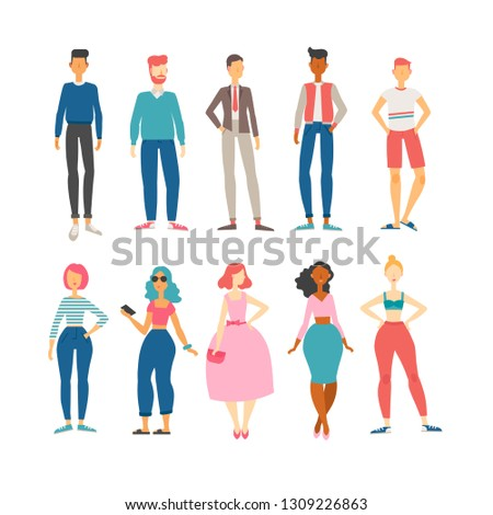 Set of ten male and female flat cartoon characters.